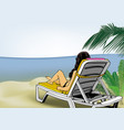 woman lying on beach lounger vector image vector image