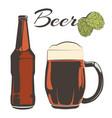 vintage beer set - bottle and goblet with hops vector image