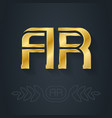 a and r initial golden logo ar - metallic 3d icon vector image