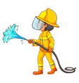 A simple drawing of a firefighter vector image vector image