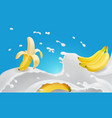 banana and flavored milk splash or yogurt vector image vector image