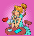 beautiful girl is drinking a cocktail valentines vector image