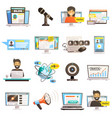 blogosphere communications icon set vector image