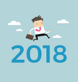 businessman jump over number 2018 vector image vector image