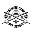 camping and outdoors black and white emblem badge vector image vector image