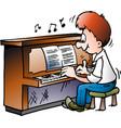 cartoon a musical piano player vector image
