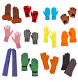 cartoon color woolen mittens different types set vector image vector image