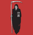 cartoon death with scythe and hourglass vector image vector image
