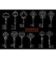 chalk sketched antique skeleton keys on chalkboard vector image