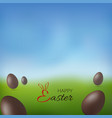 chocolate egg 3d happy easter text brown easter vector image vector image