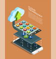 cloud computing technology isometric poster vector image vector image