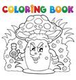 coloring book mushroom theme 3 vector image
