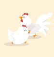 couple white chicken animal character vector image