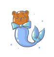 cute brown bear with bow and mermaid tail isolated vector image