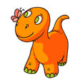 cute little dinosaur playing with butterfly on vector image vector image
