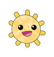 grated happy sun with lights ray kawaii vector image vector image