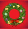 green christmas wreath with vector image vector image