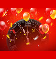 greeting card with clock vector image vector image