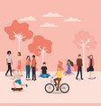 group of person doing activities in the park vector image vector image