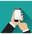 Hand touching screen of white phone vector image vector image