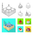 isolated object temple and historic logo set vector image