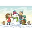 kids build a snowman vector image