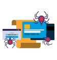 letter credit card with spider isolated icons vector image