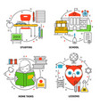 linear education icons set vector image vector image