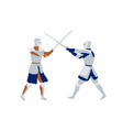 medieval warriors fighting flat vector image
