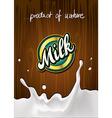 milk label on wooden background with splash