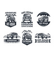 off road symbols labels with 4x4 truck logos or vector image