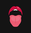 open mouth women lips and tongue logo on black vector image