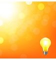 Orange Background With Bokeh And Lamp vector image vector image