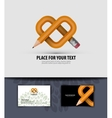 Pencil and heart Business card Logo icon symbol vector image