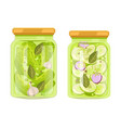 pickled cucumbers and zucchini with spicery jars vector image