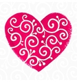 Pink painted heart with white ornament vector image vector image