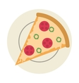 pizza slice on plate icon vector image vector image