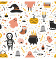 seamless pattern with cute halloween creatures and vector image vector image