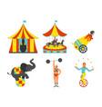 set of circus icon vintage clip art set vector image vector image