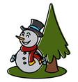 snowman and tree christmas cartoon vector image