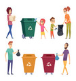 sorting garbage people recycling and cleanup vector image