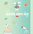 space poster with set of icons rocket planet vector image vector image