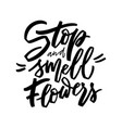 stop and smell flowers hand lettering vector image vector image