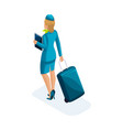 the isometric girl of the stewardess comes with a vector image vector image