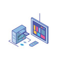 tv screen with remote control and server equipment vector image vector image