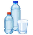 water bottles and glass with drinking water vector image vector image