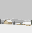 Winter mountain village vector image vector image