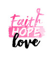 breast cancer awareness pink watercolor typography vector image