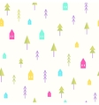 Small houses and trees pattern vector image