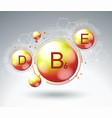 vitamin complex icon with chemical formula vector image